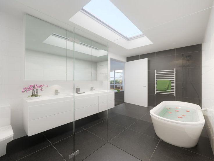 blacks, whites freestanding tub, freestanding bath, white cabinets skylight, heated towel rail hydrotherm