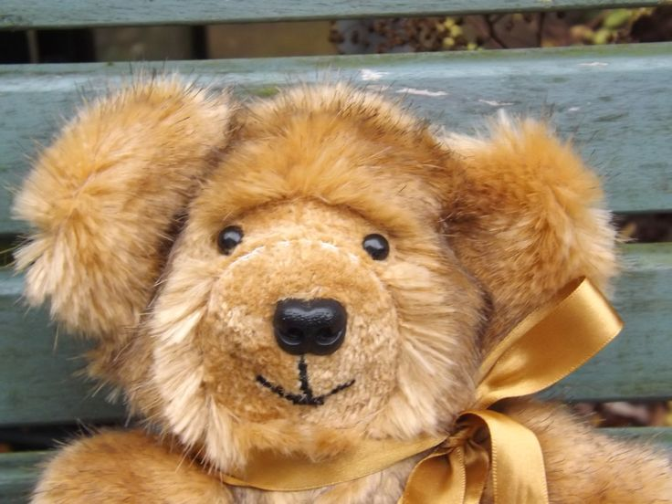 Small Teddy Bear - Brown with Black Tips Synthetic Fur Bear by ClaresQuiltsnSoftToy on Etsy