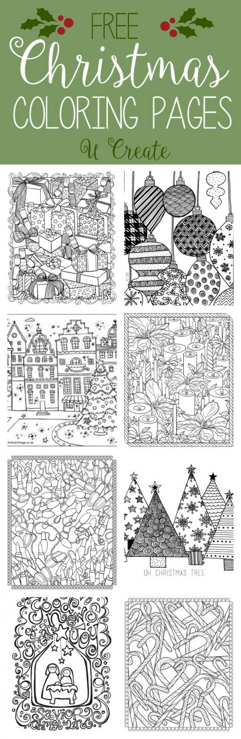 Free Christmas Adult Coloring Pages at U Create, great as embroidery patterns
