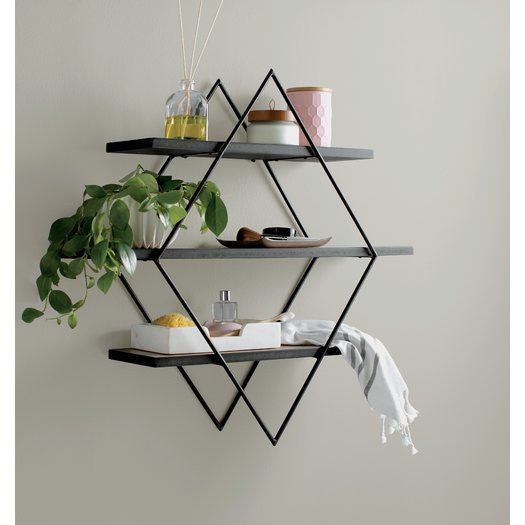 Donny Osmond Home Wood and Metal Diamond Wall Shelf