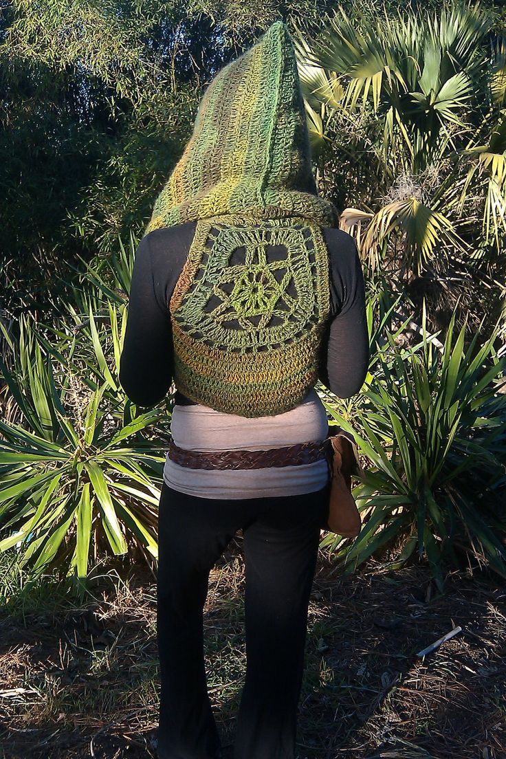 Hooded Rainforest Wanderer Pixie Vest With Mandala Accent