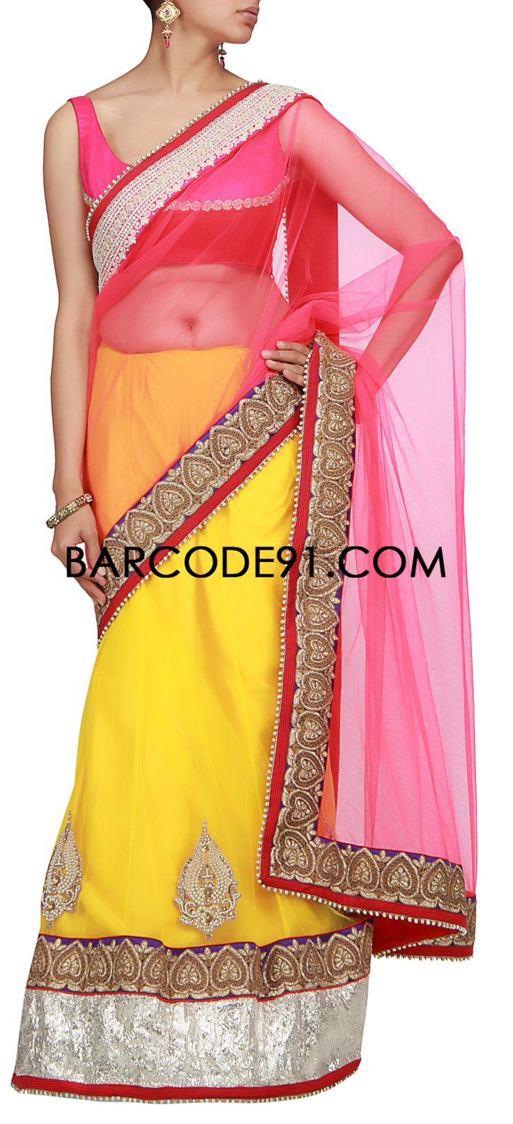 Buy it now  http://www.barcode91.com/a-pink-and-yellow-saree-with-embroidered-border-by-barcode-91-exclusive.html  A pink and yellow saree with embroidered border by Barcode 91 Exclusive