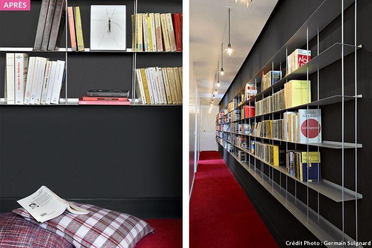 Après : un couloir aménagé avec moquette rouge et bibliothèque en aluminium !