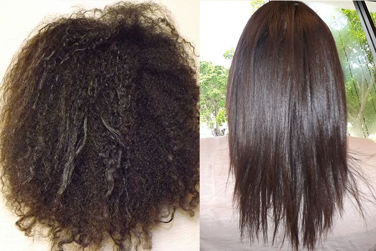 Zelo Brazilian Keratin Hair Smoothing System before and after results for home use.
