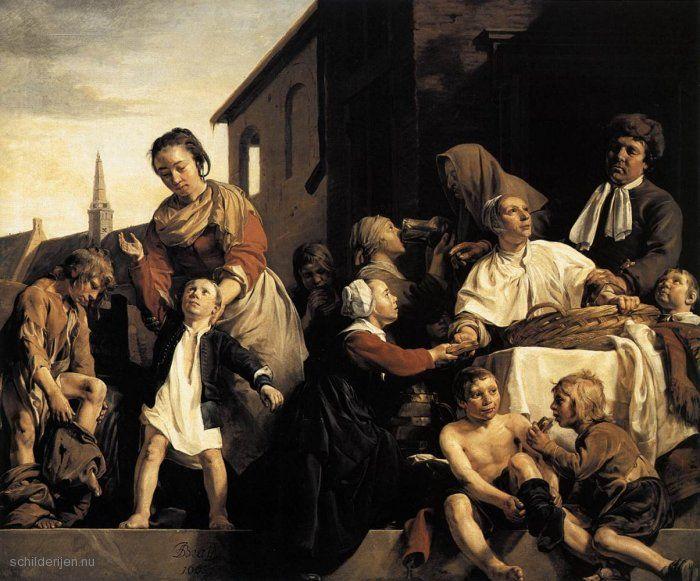 Jan-de-Bray-Neigt-Kinderen-in-het-weeshuis-in-Haarlem-i3914.jpg (700×581) in 1663  Op het schilderij van Jan Salomonsz. de Bray in het Franshalsmuseum, dat overigens vroeger ook een weeshuis was, wordt brood aan de wezen uitgedeeld. De kinderen eten er flink van. Een meisje krijgt een kan met dunbier te drinken, een lichte biersoort, dat dagelijks gedronken werd. Alle kinderen krijgen weeshuiskleren waarmee ze op straat te herkennen zijn, één rode en één zwarte mouw.