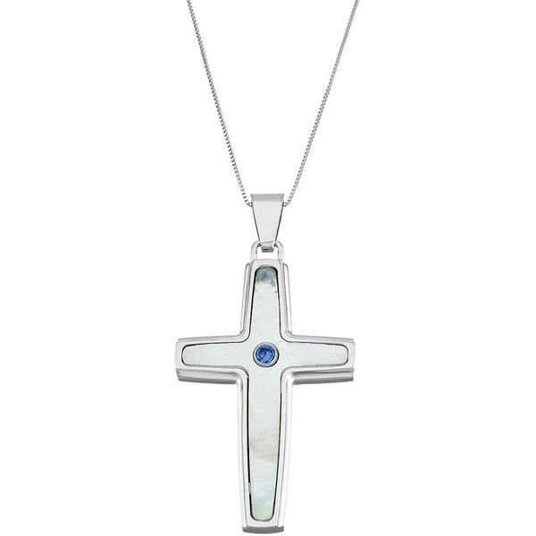 Men's Stainless Steel Mother-Of-Pearl & Lab-Created Sapphire Cross... ($90) ❤ liked on Polyvore featuring men's fashion, men's jewelry, men's necklaces, white, mens white gold necklace, mens crucifix necklace, mens stainless steel cross necklace, mens chain necklace and mens cross pendant necklace