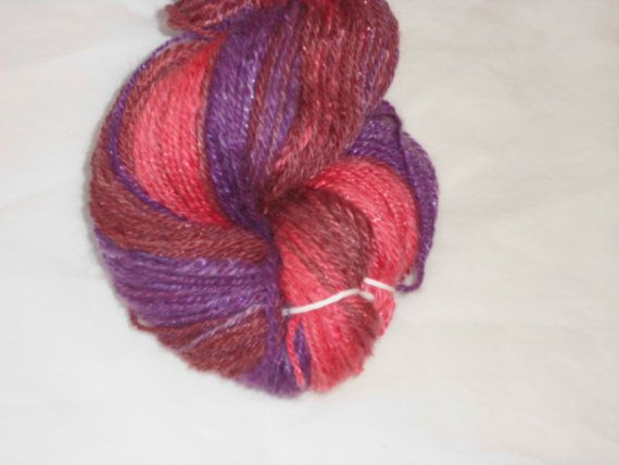Luxury Handspun And Hand Dyed 3-ply BFL Wool Nylon DK Yarn - Rose Grape Purple Color