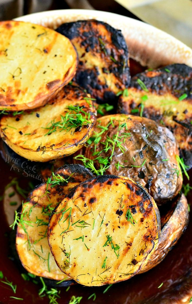 Herbed Grilled Potatoes. Balsamic vinegar, fresh herbs, smoky grilled flavor, all of that makes these crispy potatoes a DELICIOUS side for your grilled meats.