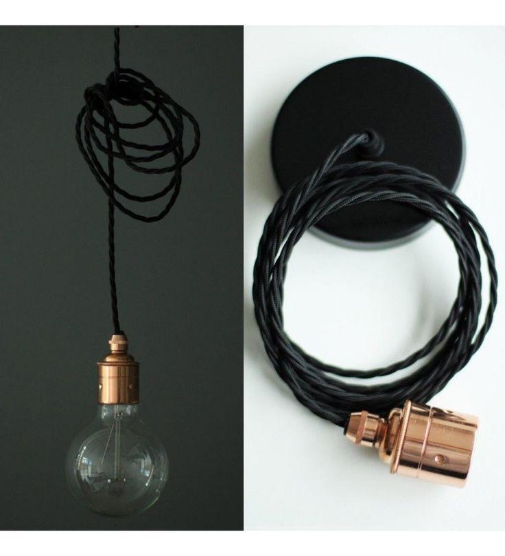Lampa / przewód w oplocie E27 - miedziana oprawka, różne kolory kabla - Pufa Design