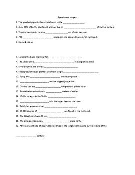 This Handout has 20 questions for the Eyewitness Jungles Video.  Answer Key attached.