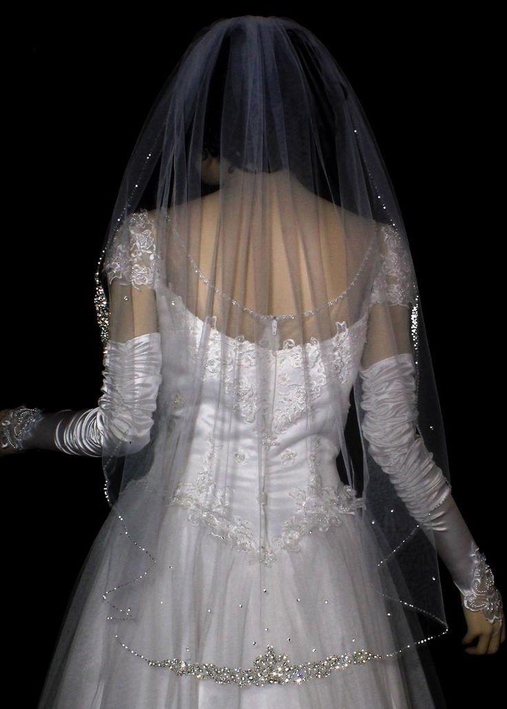 Intricate Rhinestone Beaded Edge Fingertip Length Wedding Veil