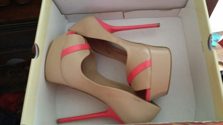 Pink and nude peep toe heels