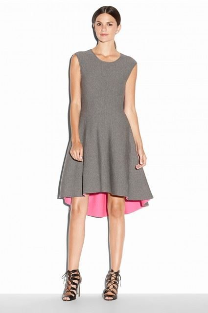MILLY Reversible doubleface dress. This reversible sleeveless dress features a high-low hem that adds dimension to its classic silhouette.