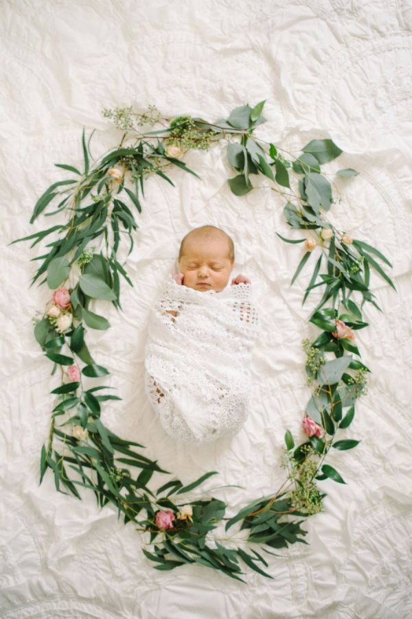 birth announcement idea | flower garland + baby Tour the Sweetest Vintage Nursery for a Baby Girl – Style Me Pretty