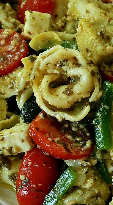 Cheese Tortellini Pesto Pasta Salad