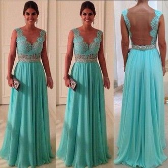 dress blue aqua bridesmaid open back dresses evening dress goingout outweare…
