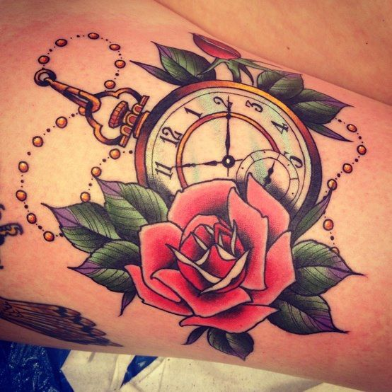 Colorful and Beautiful Rose/Pocket watch Tattoo. Cute might get this when I go to the Philippines