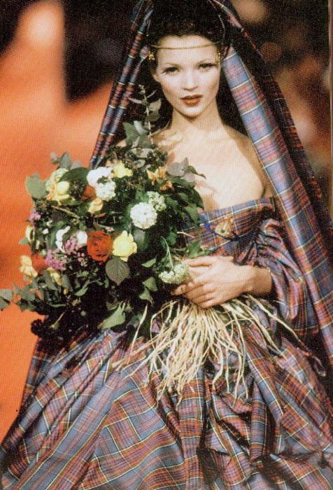 Kate Moss at Vivienne Westwood in a tartan wedding dress
