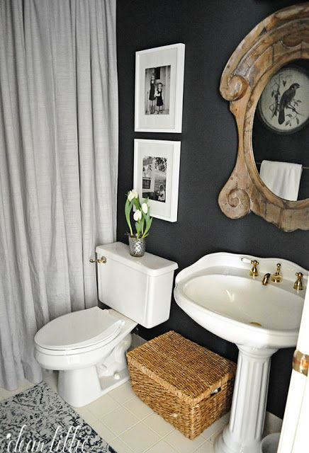Find This Pin And More On Bathrooms Love The Dark Blue