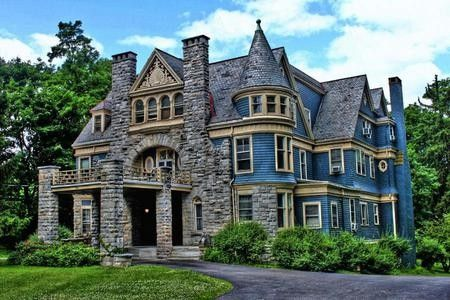 Stone and Blue Victorian- that's not a house. That's a castle