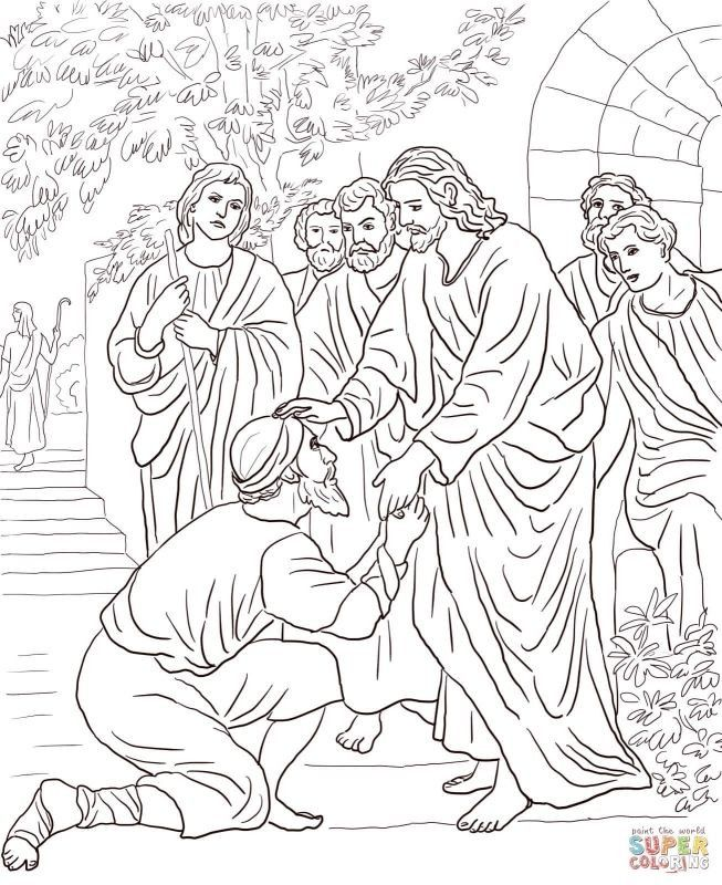 Elegant Jesus Heals The Blind Man Coloring Page Warna Gambar