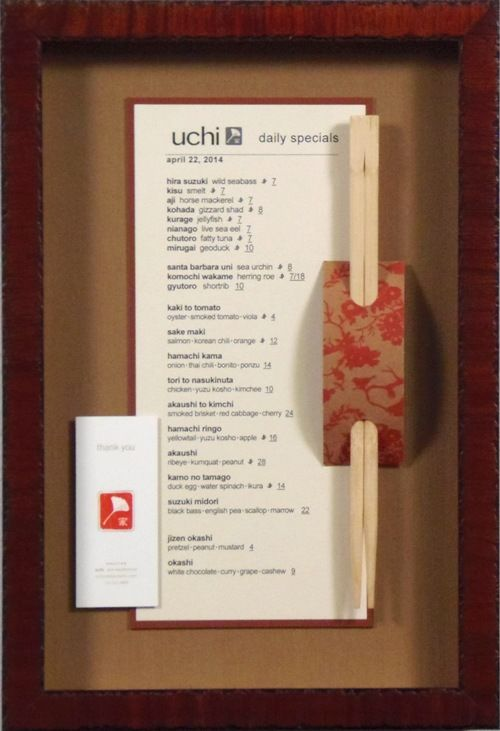 custom framed uchi restaurant menu with chopsticks by bradleys art frame one of our local houston restaurants