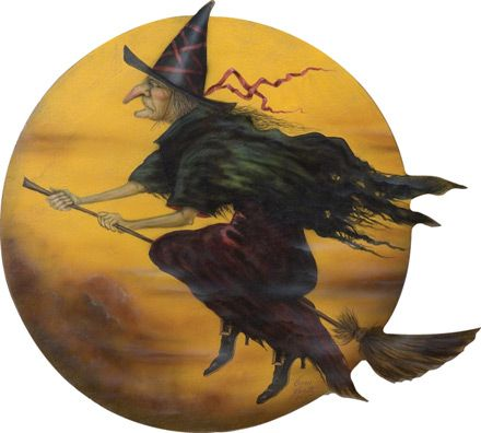 "A Halloween Witch on their front door from Bonnie Barrett, this one 34"" round on board."
