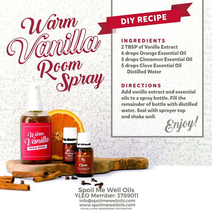 Warm Vanilla Room Spray DIY Fall Essential Oil Recipe with orange, cinnamon, clove and vanilla.