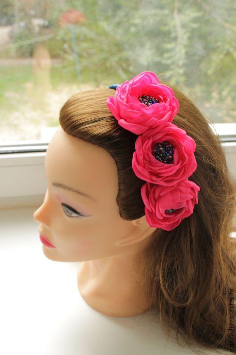 """Купить Ободок для волос с цветами """"Летний"""" - фуксия, яркие цвета, ободок для волос, ободок с цветами"""