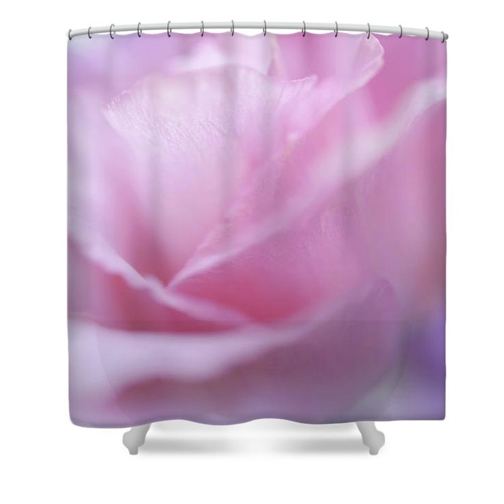 """Le Baiser Rose Shower Curtain by Jenny Rainbow.  This shower curtain is made from 100% polyester fabric and includes 12 holes at the top of the curtain for simple hanging.  The total dimensions of the shower curtain are 71"""" wide x 74"""" tall."""