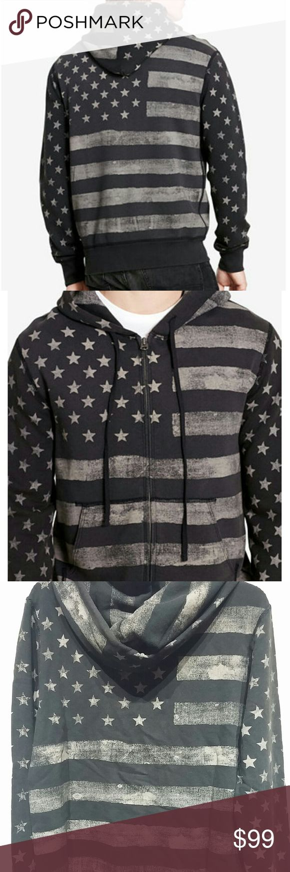 """Denim & Supply Ralph Lauren American Flag Hoodie NWT! Very nice quality!  Denim & Supply Ralph Lauren Men's American Flag French Terry Zip Hoodie  A cool take on Americana-inspired style, this black cotton hoodie features a tonal stars-and-stripes pattern.  Size medium has a 26 1/2"""" body length and a 26"""" sleeve length. Drawstring hood. Full-zip front. Long sleeves with ribbed cuffs. Split kangaroo pocket. Ribbed hem. Signature logo shield label at the front left hem. 100% cotton. Machine…"""