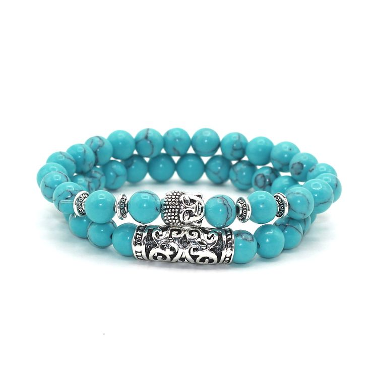 2 pcs/set Antique Silver Plated Buddha Head Charm with Lava Onyx Turquoises Natural Stone Beads Bracelet Set Pack For Men Women-in Strand Bracelets from Jewelry & Accessories on Aliexpress.com | Alibaba Group