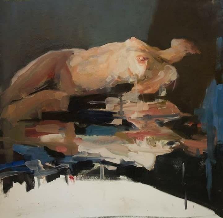 Jantien de Boer, Ashore,  2015, oil on paper, 60 x 80 cm.