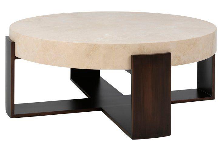 Santa Cruz Round Coffee Table, Ivory