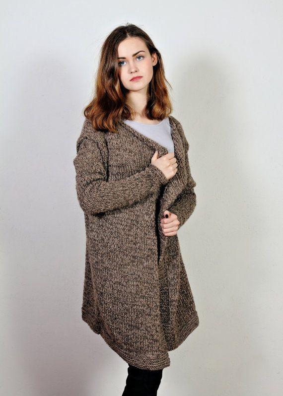Wool coat  Women's knit coat  Brown sweater  by Isabellwoolstudio