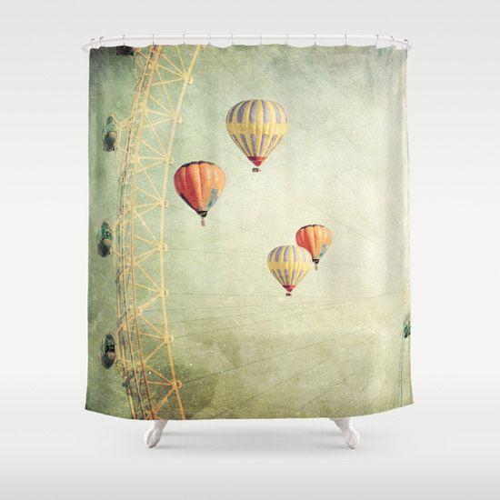 Balloons Shower Curtain Bathroom home decor, hot air balloons, whimsical, carnival, sky yellow, balloons curtain, whimsical curtain