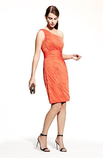 """We're crazy over this """"mango"""" color for bridesmaids. Exclusively @Nordstrom from ML Monique Lhuillier"""