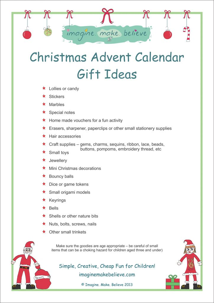 Christmas Advent Calendar Gift Ideas - Imagine. Make. Believe