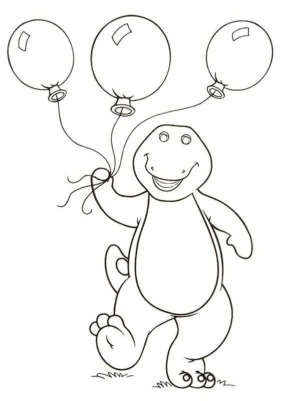 Barney Holding Balloons Coloring And Drawing Page Birthday Coloring Pages Dinosaur Coloring Pages Cute Coloring Pages