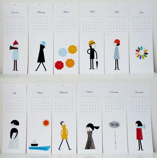 cute people calendar via UPrinting Design Blog