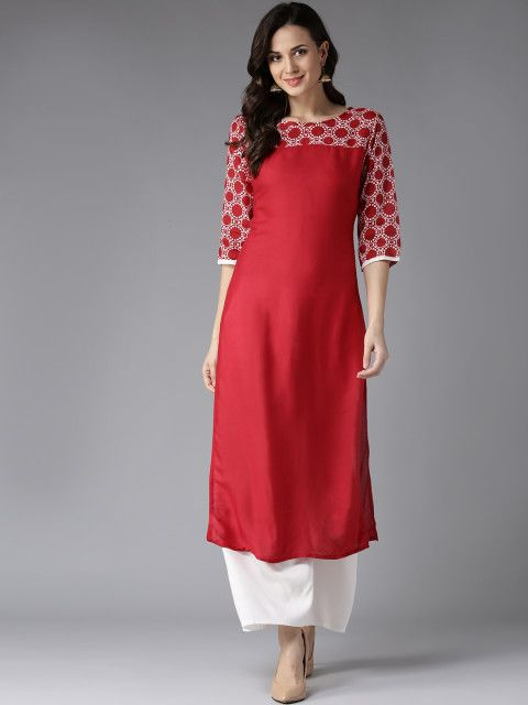 1e6929d0e31 Buy HERE NOW Women Red Printed Detail Straight Kurta - Kurtas for Women