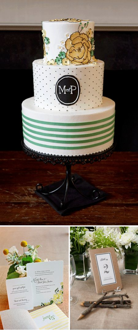 Love the cake, love the button mums, love the invites...Photos: Gayle Brooker Photography; Wedding Cake by Jim Smeal