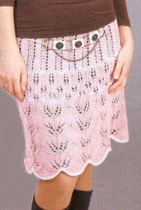 розовая ажурная вязаная юбка с узором из листьев (вязание спицами)
