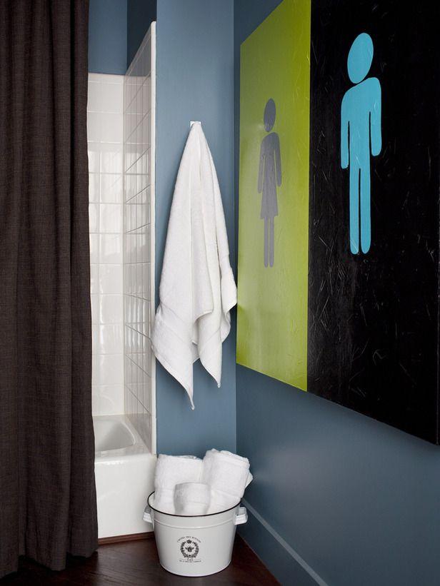 Bathroom decor - funny: Bathroom Design, Colors Combos, Bathroom Art Decor, Kids Bathroom, Decor Bathroom, Bold Bathroom Colors, Bathroom Interiors Design, Bathroom Decor, Bathroom Signs