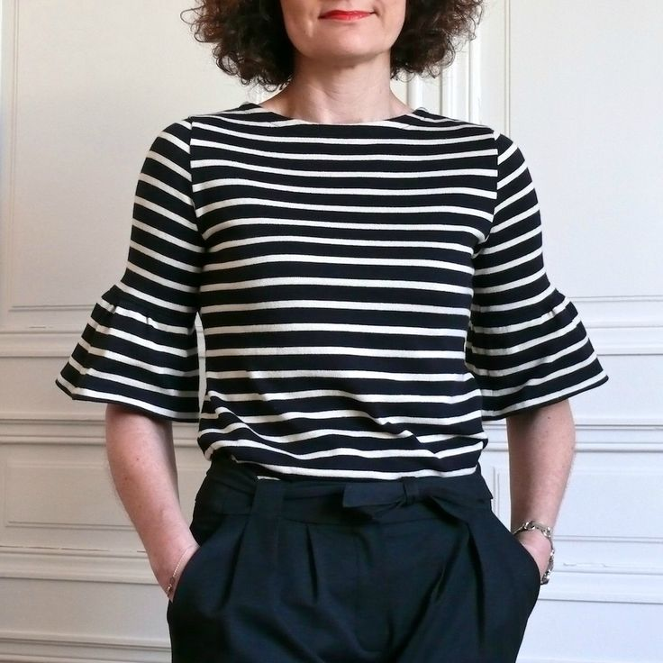 converting a sailor top from long sleeves to flounced sleeves (French)