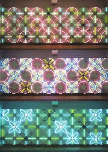 Ornamental Neon work by Astrid Krogh for the Danish Parliament. Every 45 seconds the neon tubes change in different combinations of light and colours. There are more than 100,000 possible combinations.