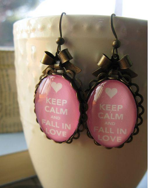 Keep Calm and Fall in Love earrings - super cute!