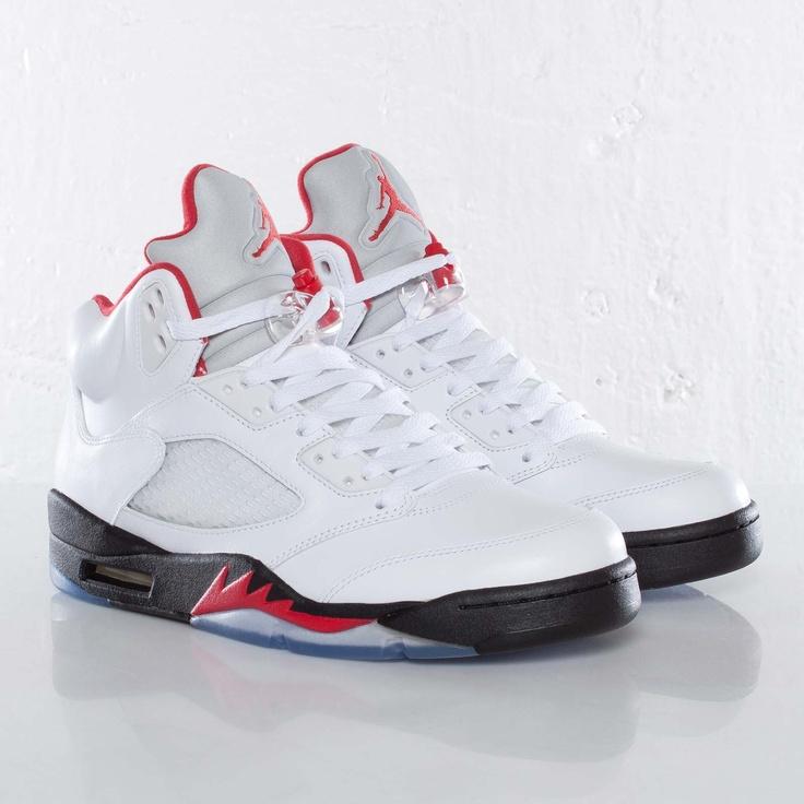 the latest dd2c3 cb9ee Genuine Nike Air Jordan 5 Retro Grey Fire Red