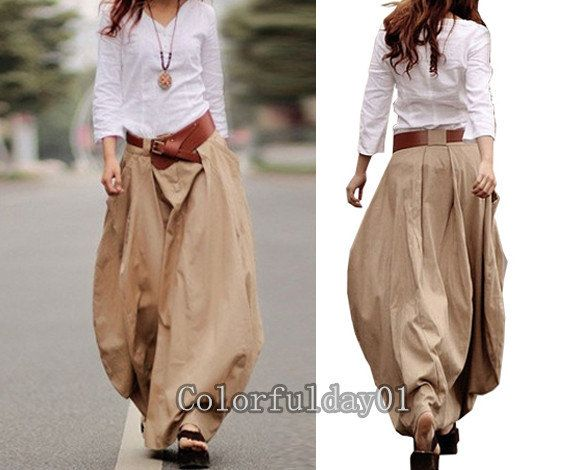 Romantic Khaki Pretty Linen Bud Long Maxi Skirt  by colorfulday01, $65.99