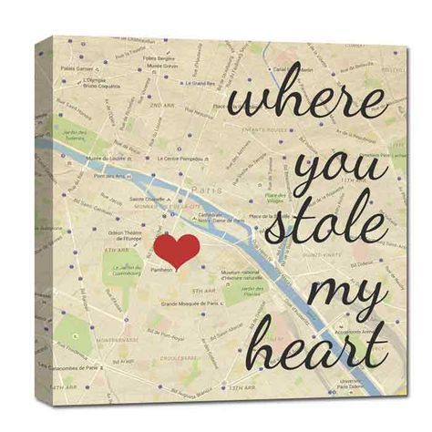 "Great Cotton Anniversary or Wedding Gift. With just the address of YOUR ""special"" location, we will create a one of a kind Custom Map Canvas for you. Using any wording over your custom canvas map art and a HEART to mark your location. Where it all Began, Home is Where the Heart is, Names and Date, Love at First Sight, etc. After your order is placed, Geezees will email you within 48 hours a design questionnaire to gather all your preferences."